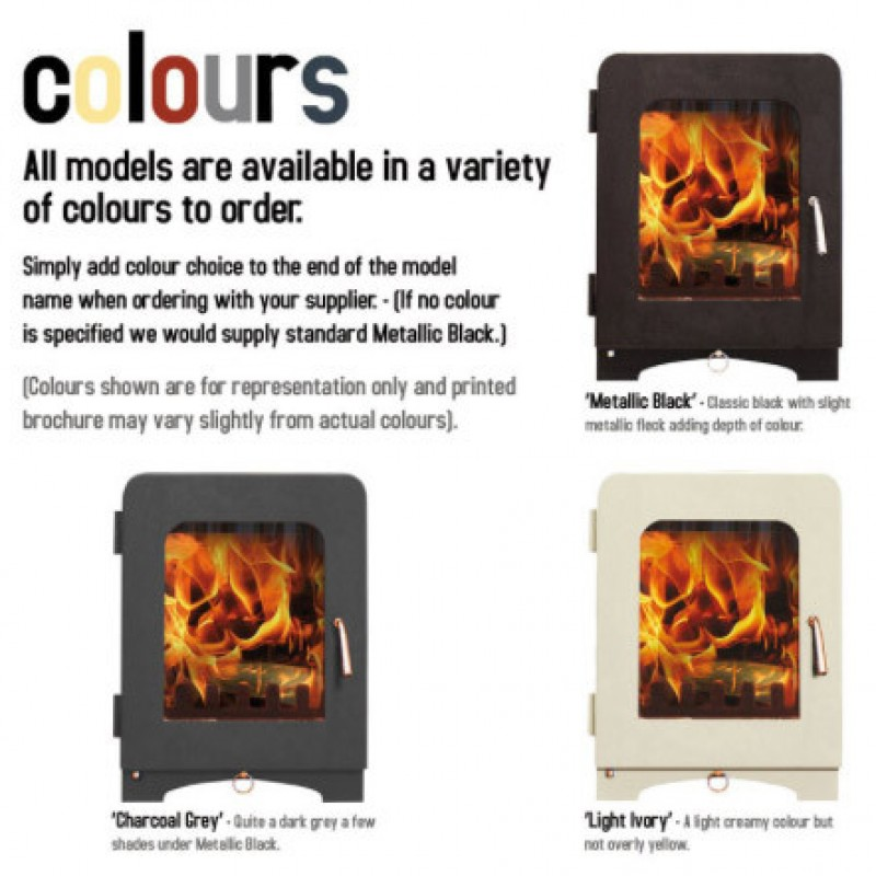 Saltfire Coloured stoves. Ideal Fires
